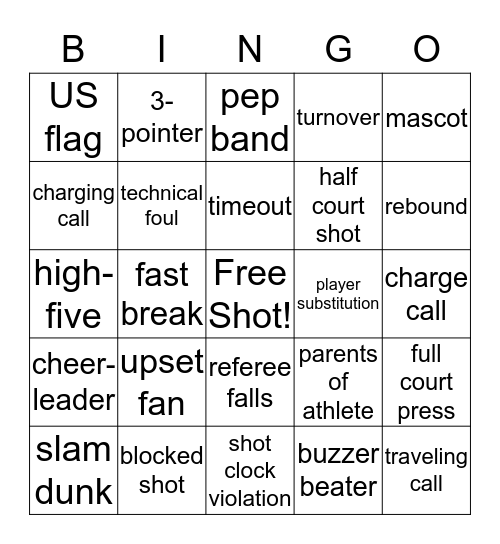 NCAA Basketball Bingo Card