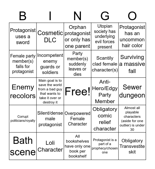 JRPG Bingo Card