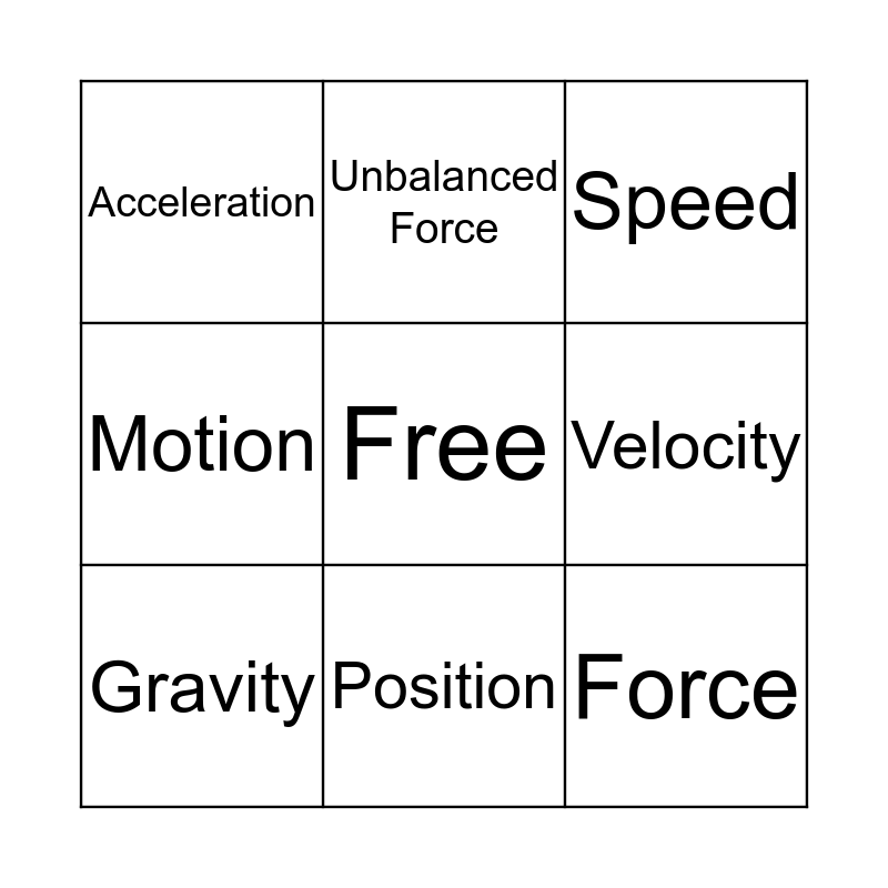 Motion Bingo Card