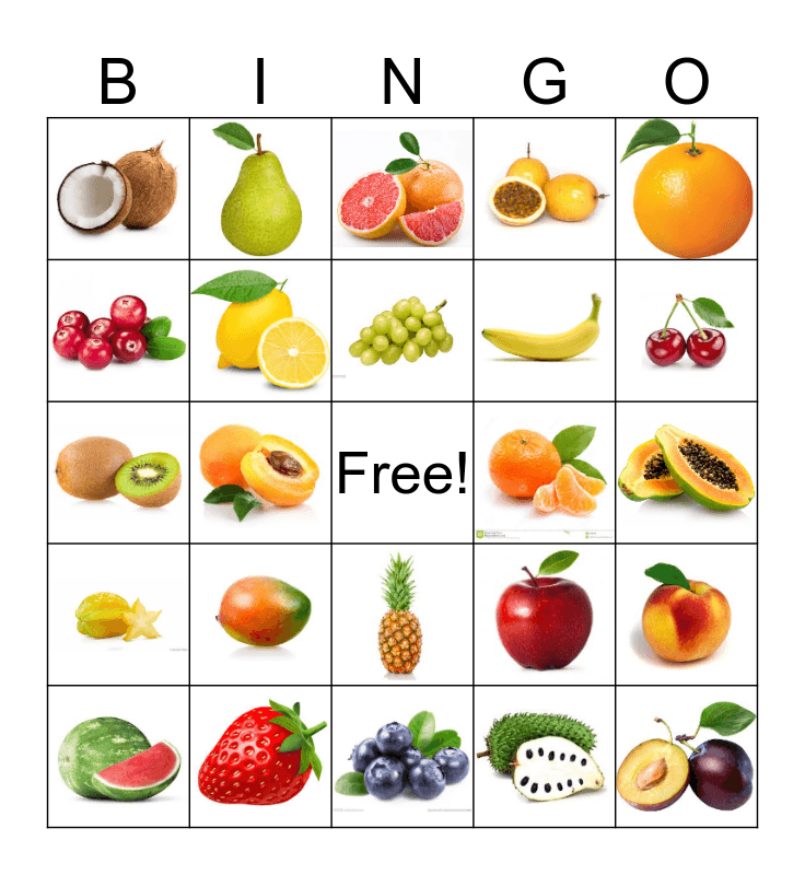 Fruits Bingo Card