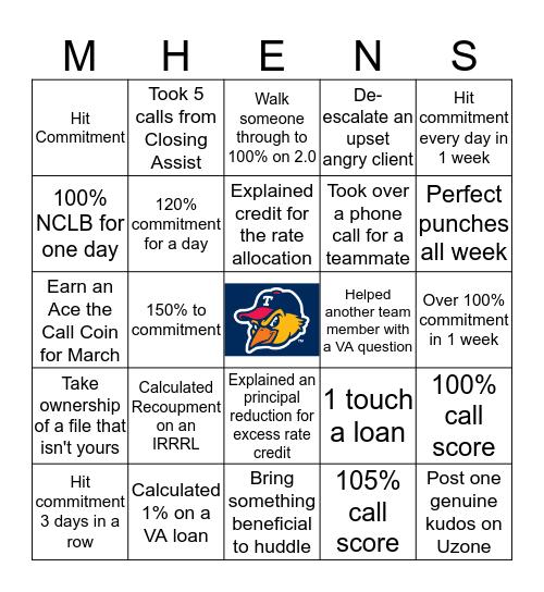 Mud Hens Bingo! Bingo Card