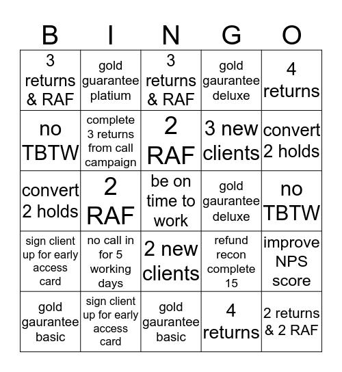 Income tax Bingo Card