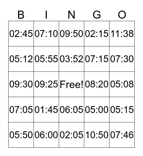 Telling Time Bingo! Bingo Card