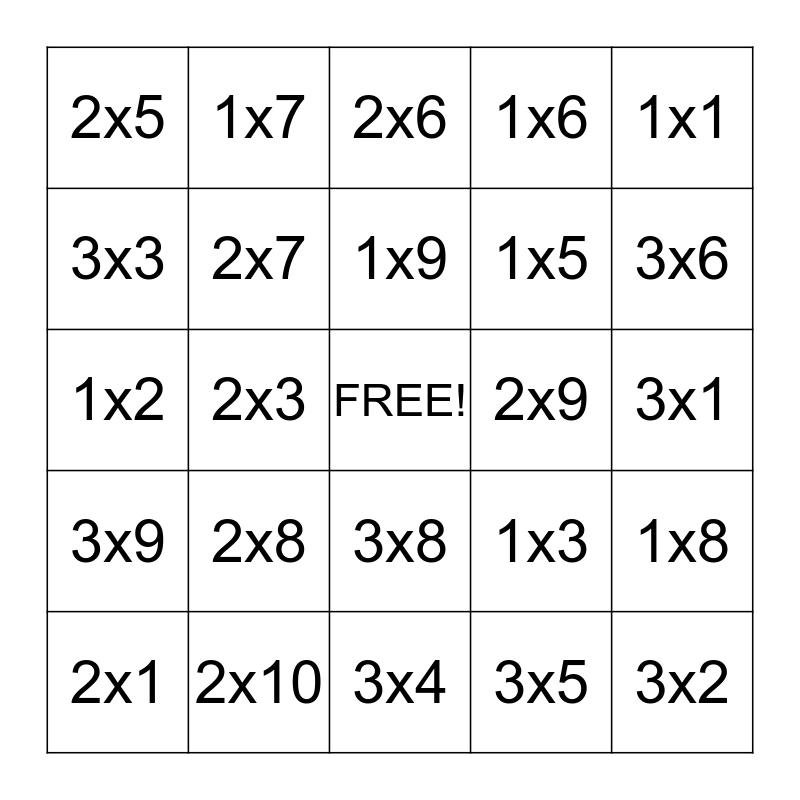Math Bingo: Multiplication 1s, 2s, 3s Bingo Card