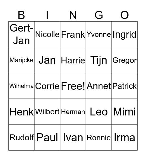 Familie den Dekker Reunie Bingo Card