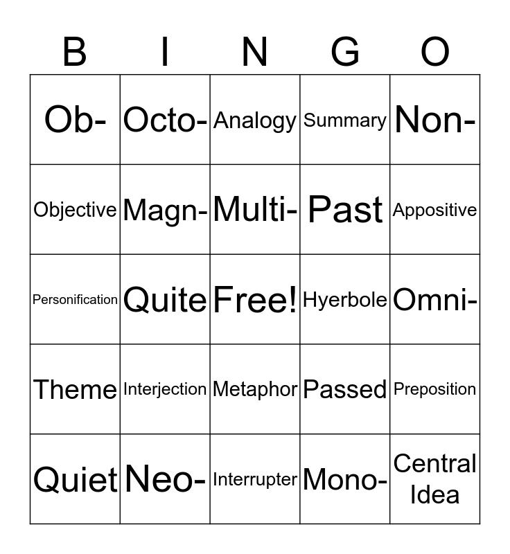 Bell Ringer Bingo Card