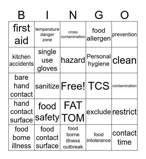 Food Safety & Kitchen Hazard Review Bingo Card