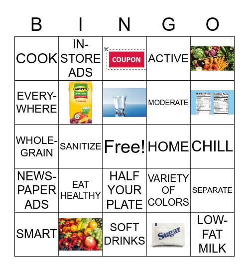 Faithful Families - Eating Smart and Moving More Bingo Card