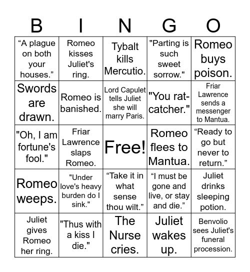 Romeo and Juliet Bingo Card