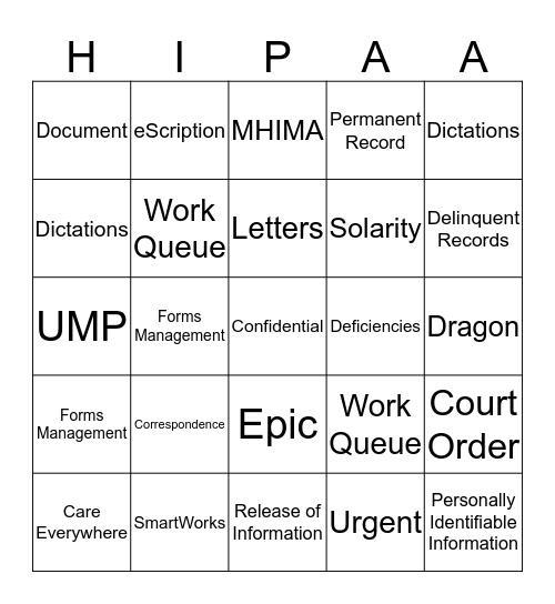 HIP Week Bingo Card