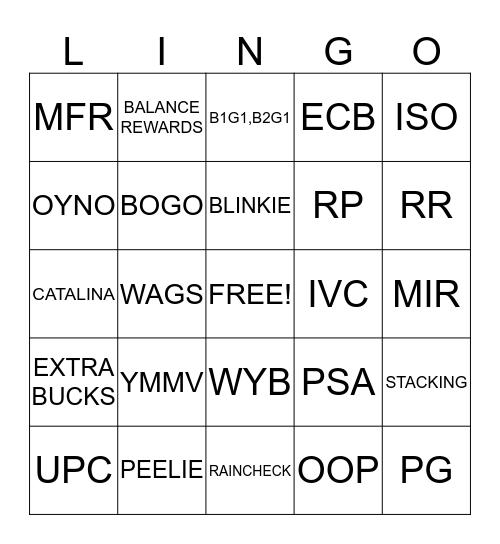 ELLAINE'S COUPON Bingo Card