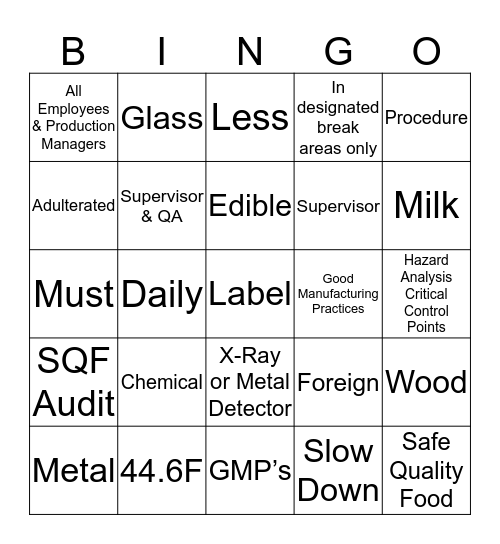 Plant Training 3-22-19 Bingo Card