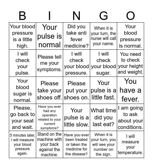 Before seeing the doctor Bingo Card