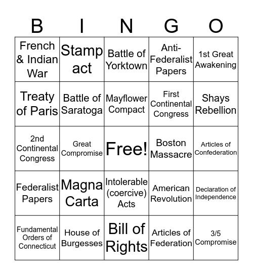 Early America Bingo Card