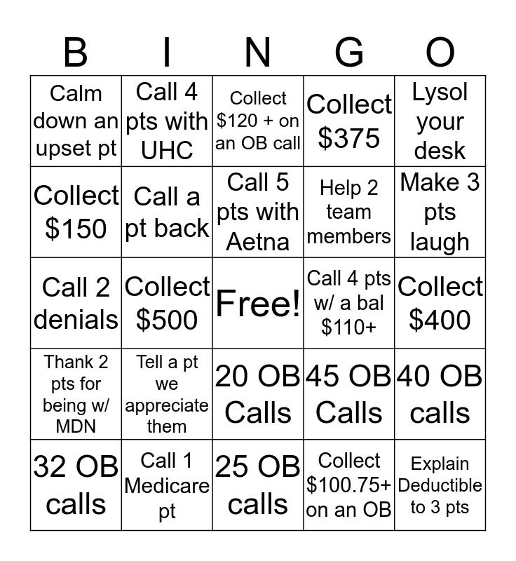 COLLECTION$ Bingo Card