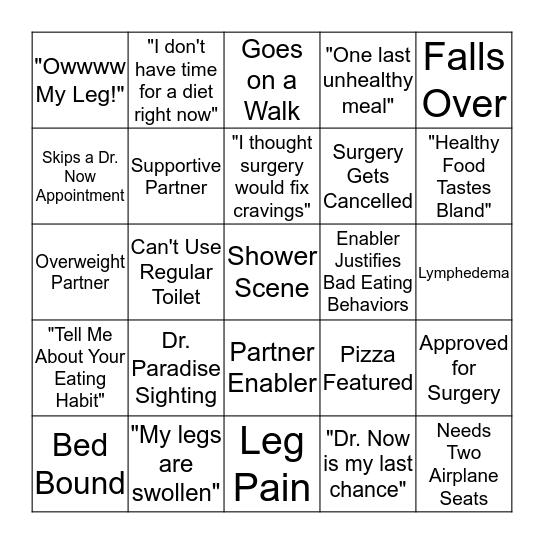 My 600lb Life Bingo Card