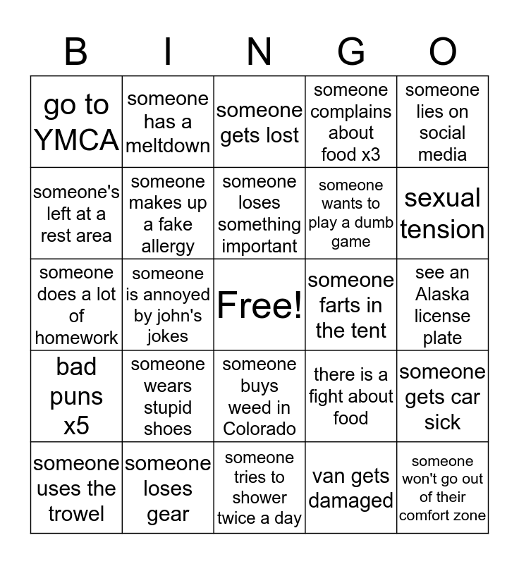 UTAH Bingo Card
