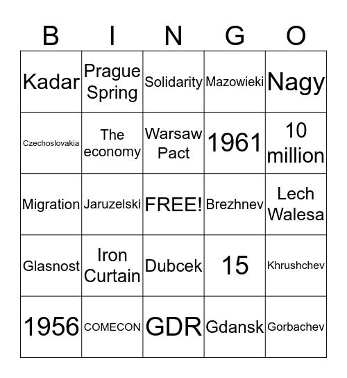 Eastern Europe Bingo Card