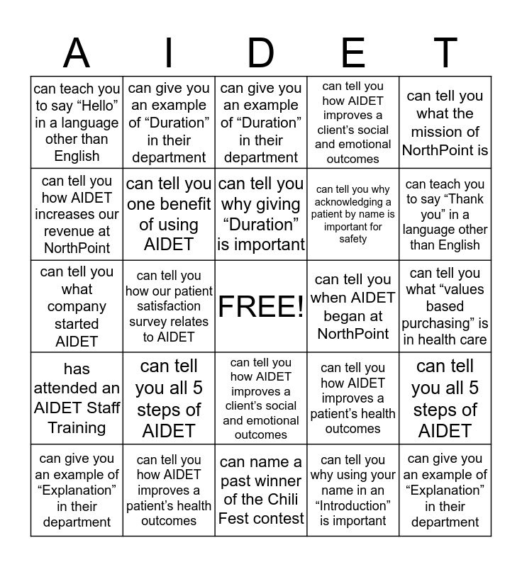 AIDET Bingo Card
