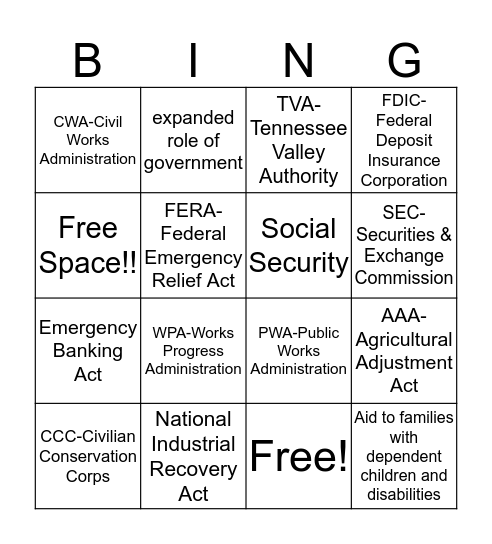 New Deal  Bingo Card