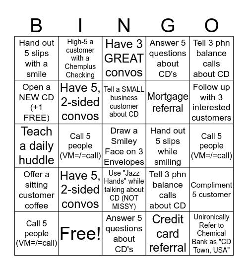 CD Bingo Card