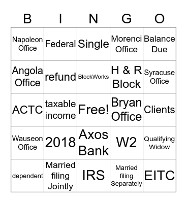 Block Bingo Card