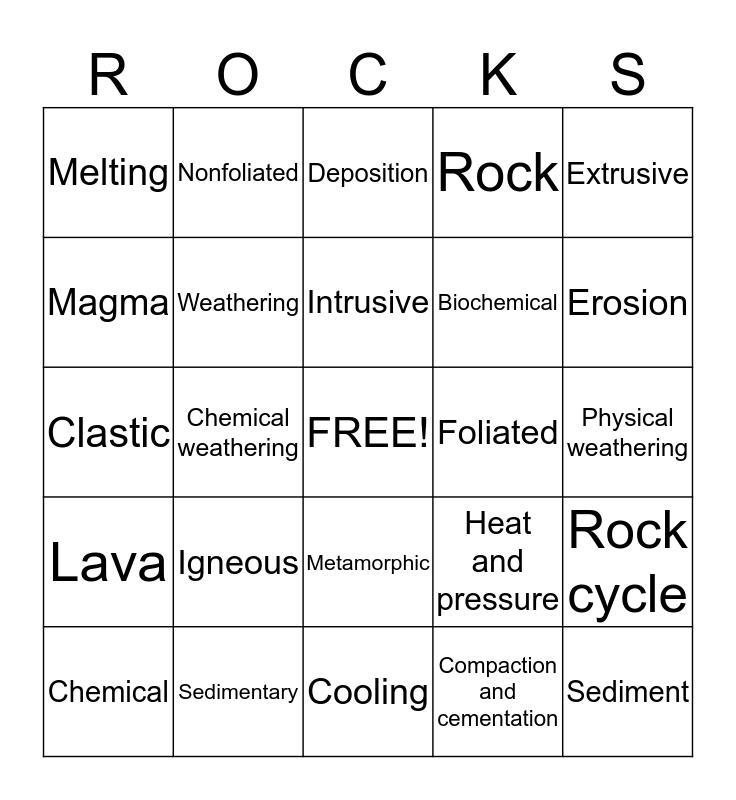 Rocks Bingo Card