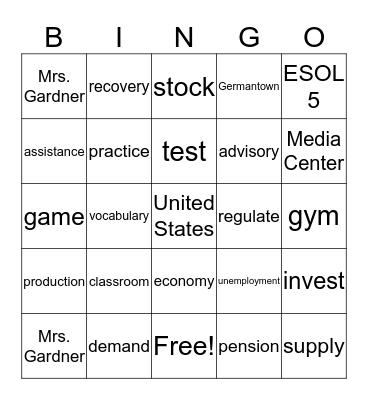ESOL 5 Vocabulary List -Unit 5 Reading 1 Bingo Card