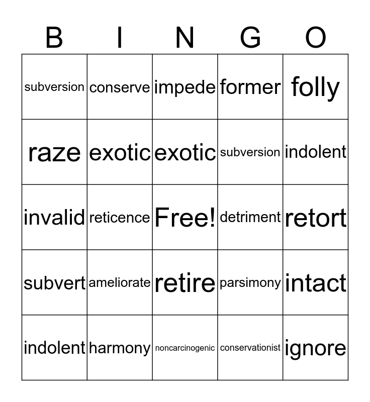 english vocab bingo2 Bingo Card