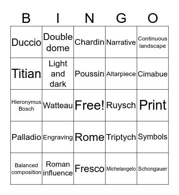 Art History Bingo Card