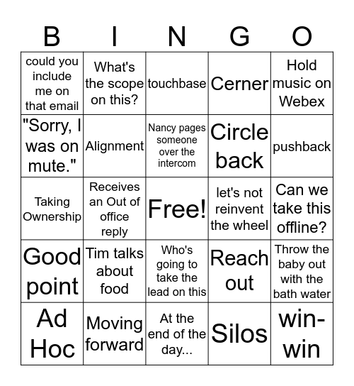 Office Lingo Bingo Card