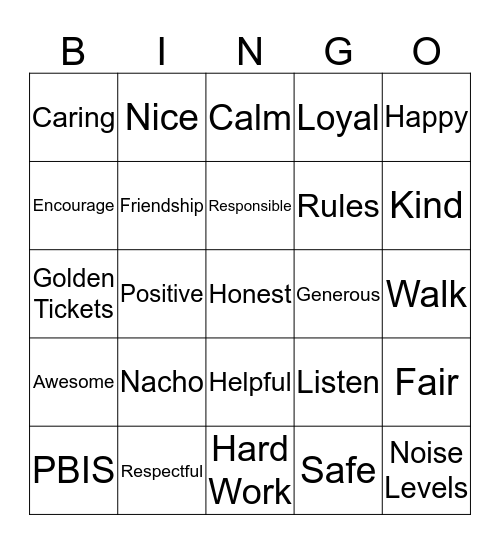 PBIS Bingo Celebration Bingo Card