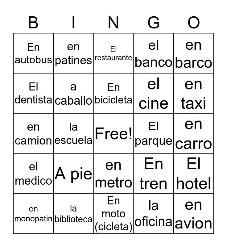 City Vocabulary BINGO Card