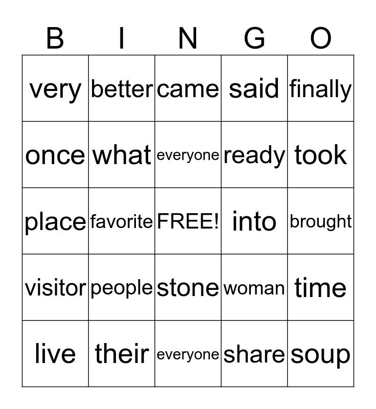 Stone Soup Bingo Card