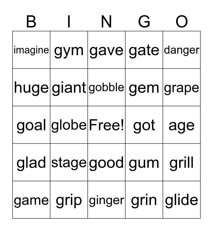 Hard and Soft 'g' Bingo  Bingo Card