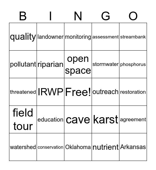 Watershed Bingo Card