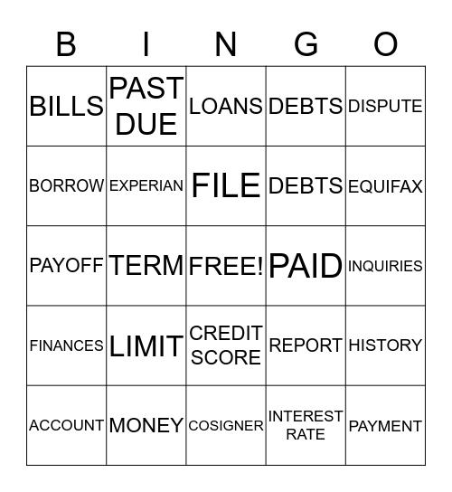 C       R       E       D       I       T Bingo Card