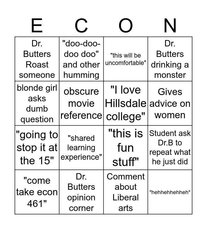 Dr. Butters Economics Bingo Card