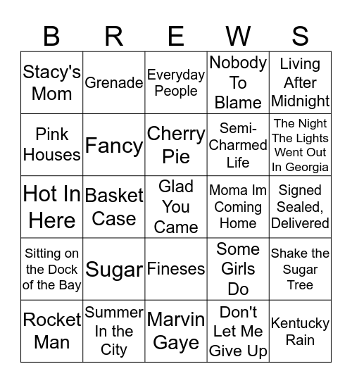 Boondocks Brews, Beats & Bingo 30-15 Bingo Card