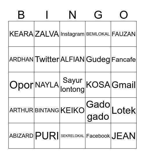 BINGO WITH KOSA Bingo Card