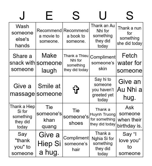 Our Model of Kindness Bingo Card