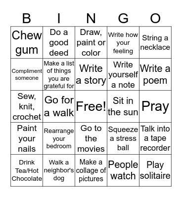 Coping Skills Bingo Card