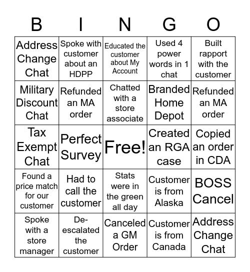 HOMER Bingo Card