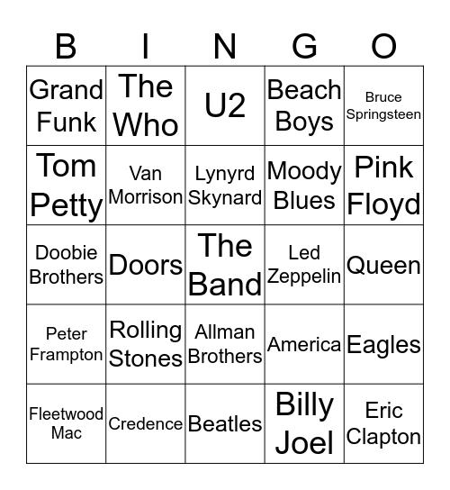 R   A   D   I   O Bingo Card