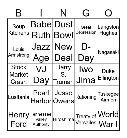 Social Studies Set 2 Bingo Card