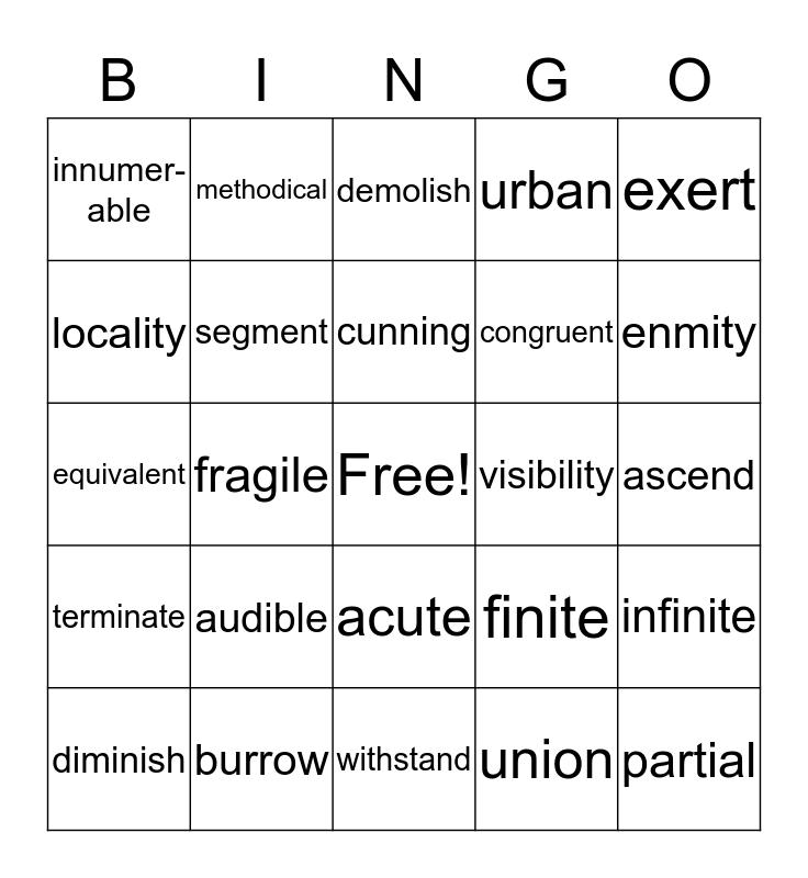 English 7--Vocab Lists 10-12 Bingo Card