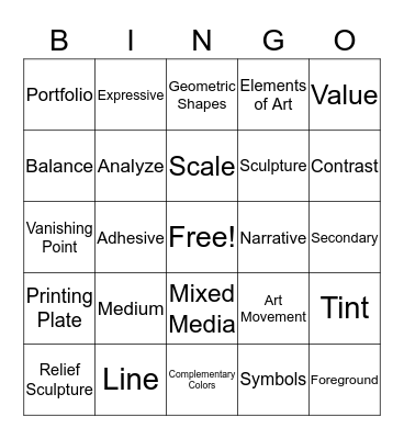 Art Vocabulary Bingo Card