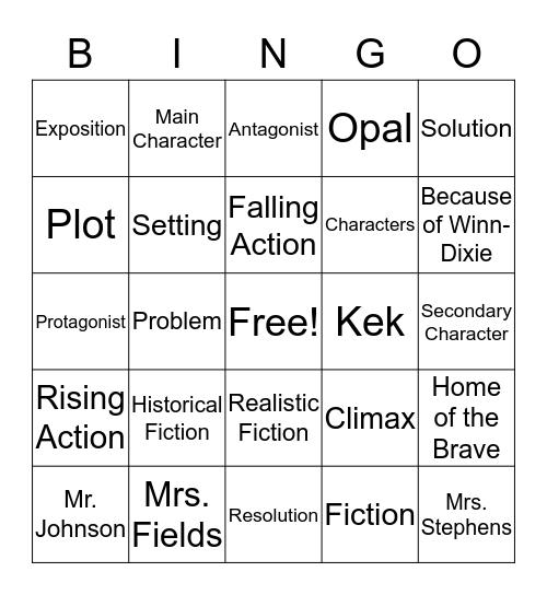 Fictional Elements Bingo Card