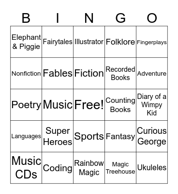 Library Bingo! Bingo Card