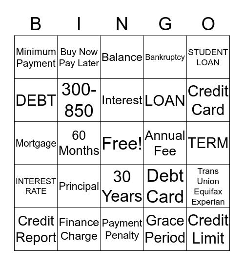 Financial  Bingo Card